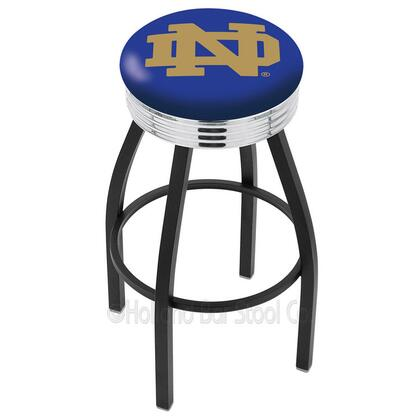 L8B3C25ND-ND 25 L8B3C - Black Wrinkle Notre Dame (ND) Swivel Bar Stool with Chrome 2.5 Ribbed Accent