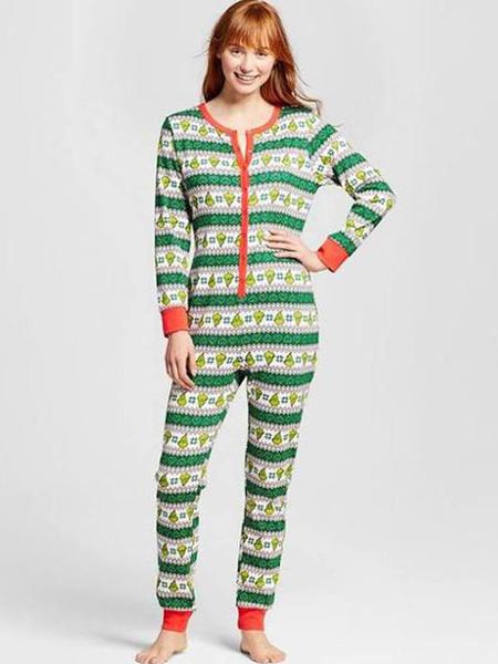 Milanoo Christmas Matching Family Pajamas Green Christmas Pattern Jumpsuit