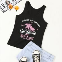 Tropical And Letter Graphic Tank Top