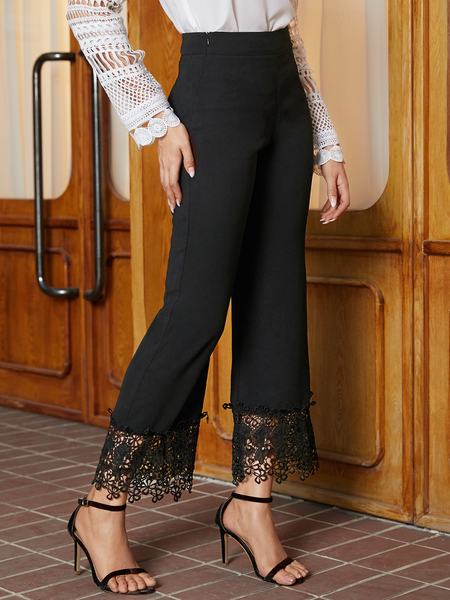 YOINS Black Patch Lace High-Waisted Pants
