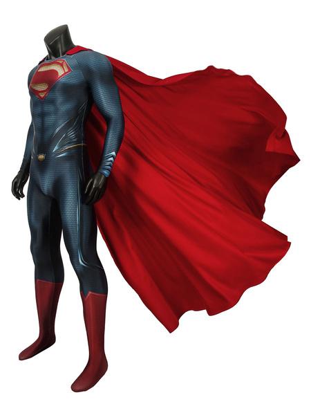 Milanoo Halloween Cosplay traje de Superman Clark Kent DC Comics spandex Lycra Catsuit con Cabo
