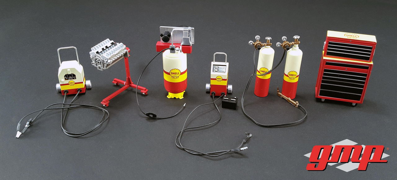 6pc Shop Tools Set 1 Shell Oil 1/18 Diecast by GMP