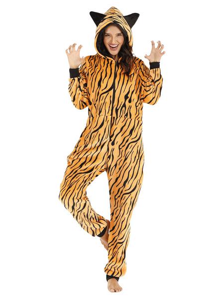 Milanoo Pajamas Kigurumi Onesie Leopard Flannel for Adult Winter Sleepwear Animal Costume Halloween