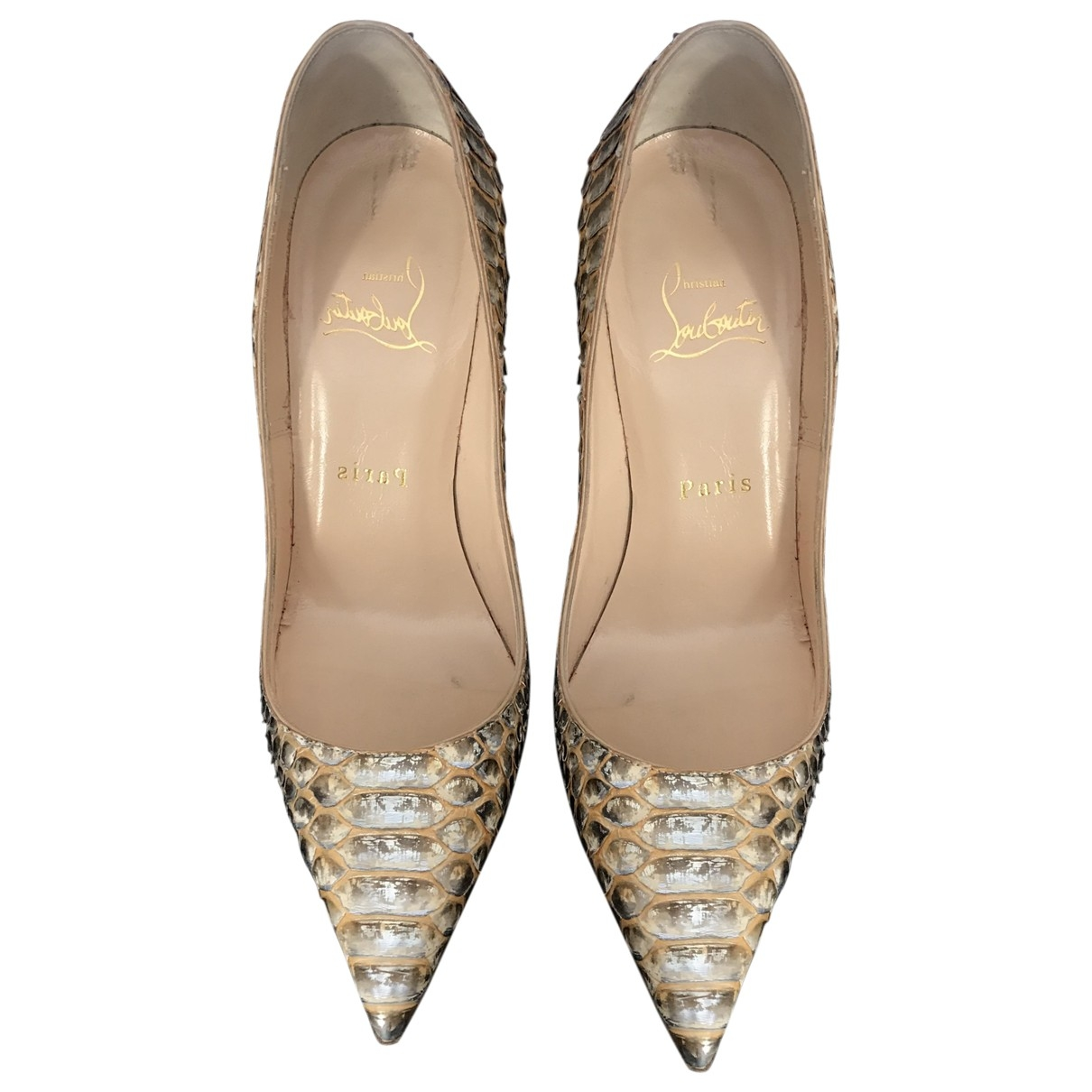 Christian Louboutin Pigalle Pumps in  Beige Python