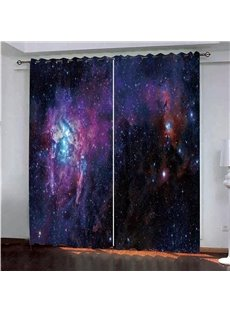 Fantastic Purple Stars Sky Painted Darken Polyester 3D Scenery Blackout Curtains