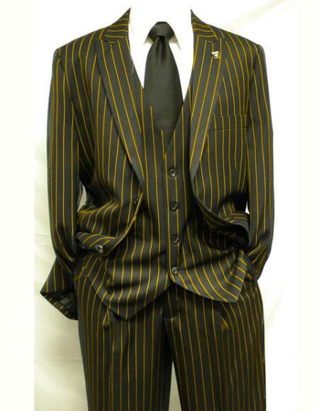 Men's Black ~ Gold Single Breasted Vest Two Button Notch Lapel Suit