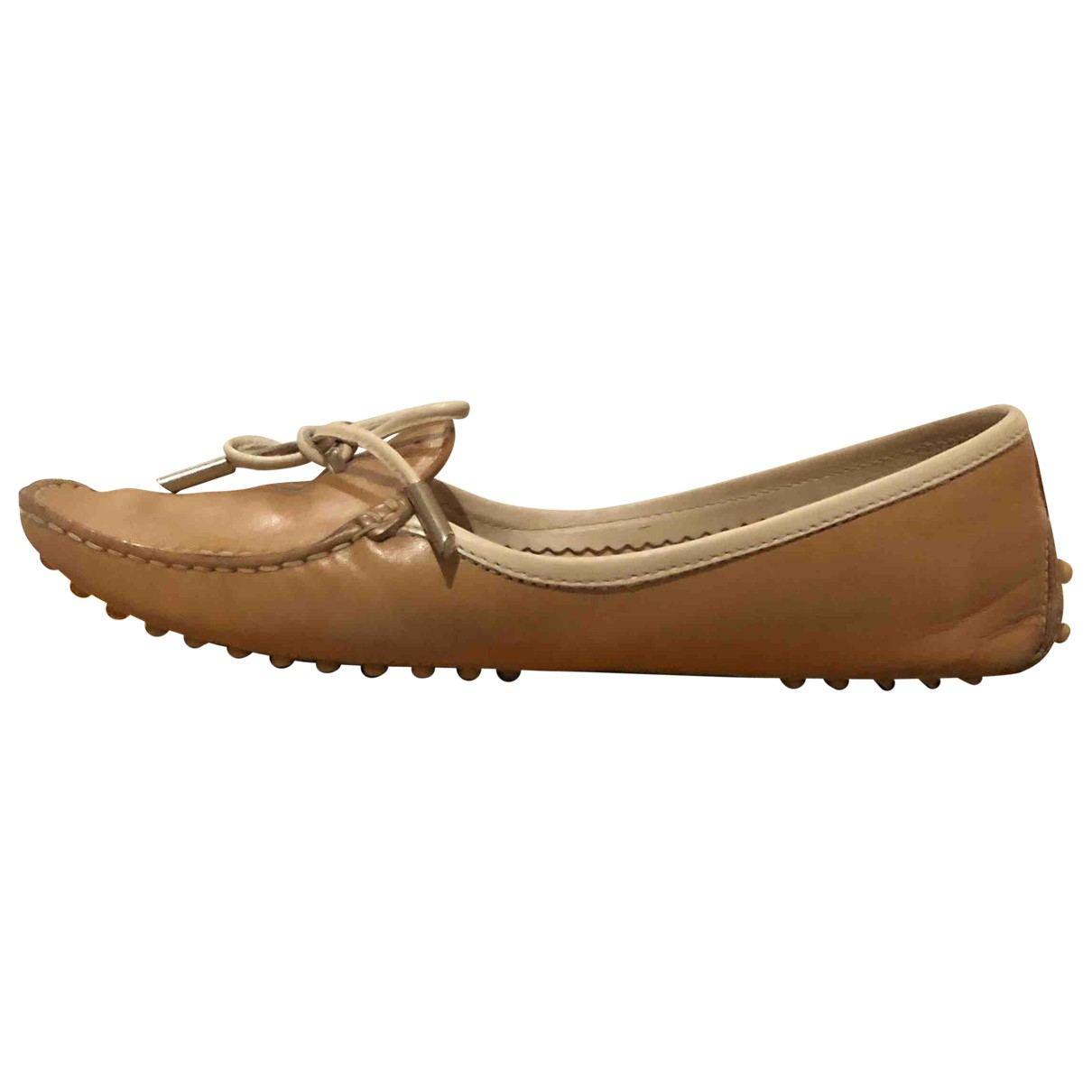 Tod's Gommino Beige Leather Flats for Women 37 EU