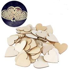 50pcs Heart Shaped Wooden Confetti