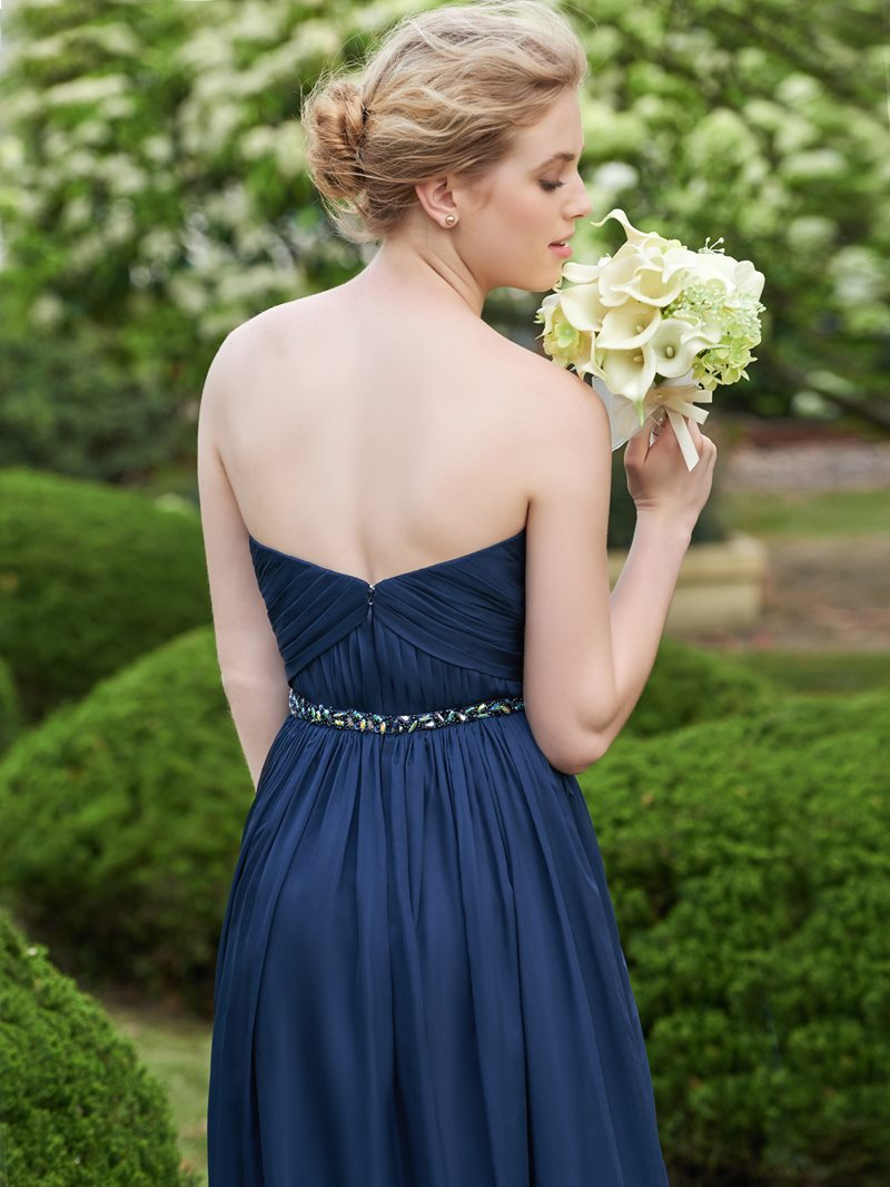 Ericdress Beaded Strapless Long Bridesmaid Dress