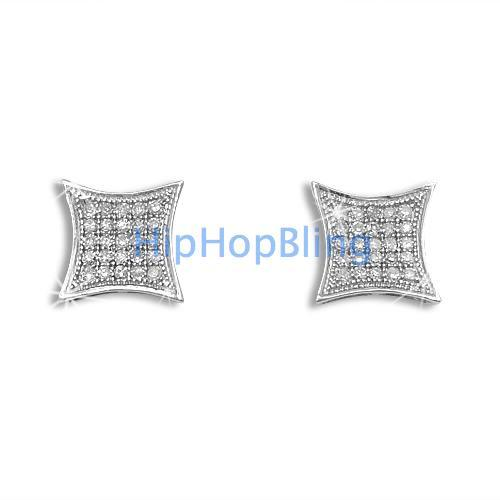 .15ct Diamond Kite Micro Pave Earrings .925 Silver