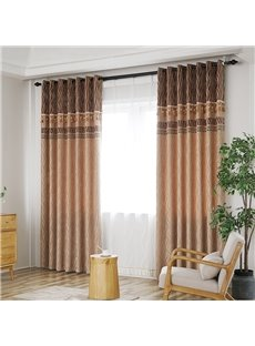 Modern Style Wooden Color High Quality Blackout Curtains 2 Panels For Living Room