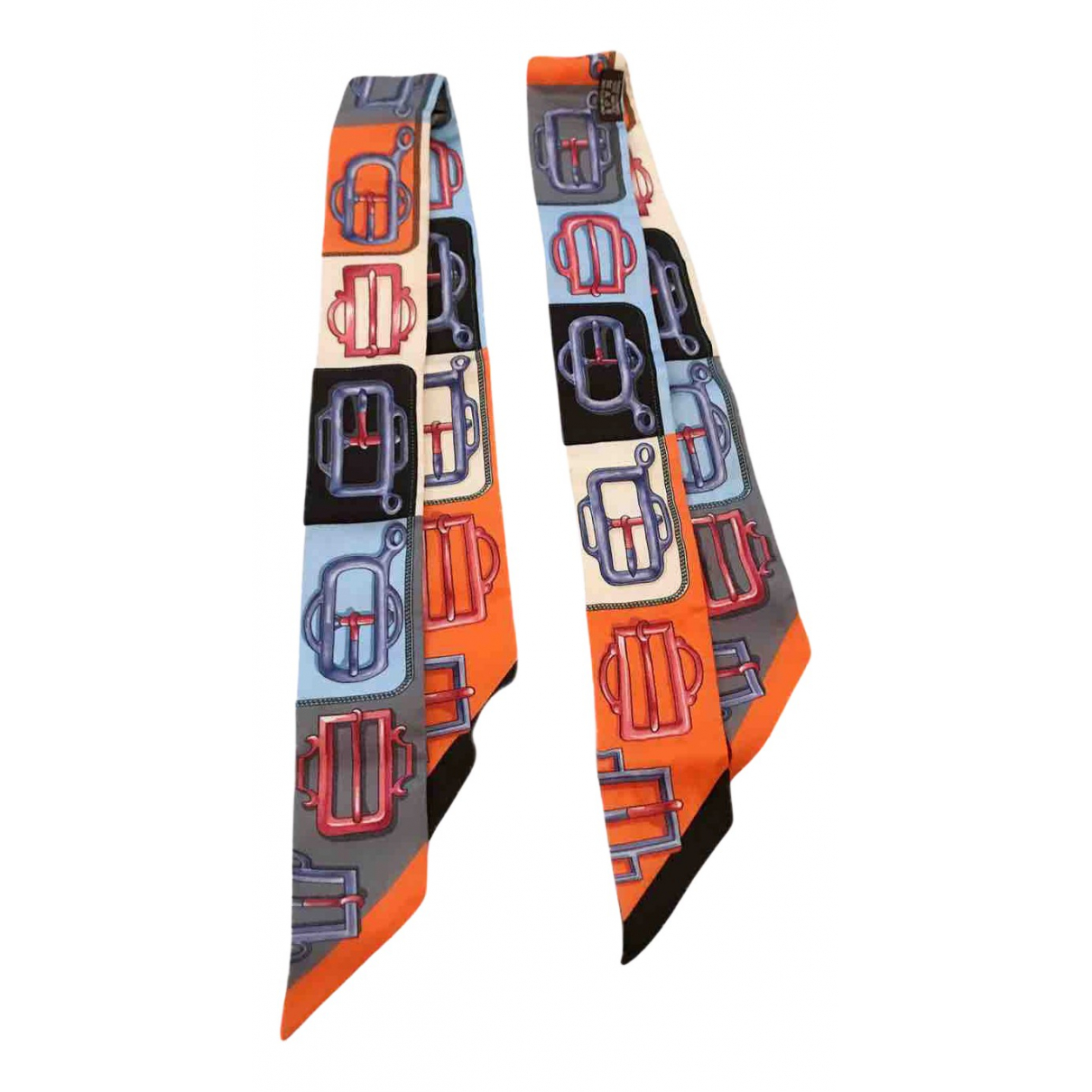 Hermes Twilly 86 Schal in  Orange Seide