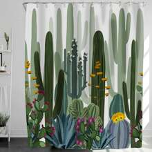 Duschvorhang mit Kaktus Muster und 12 Stuecken Haken