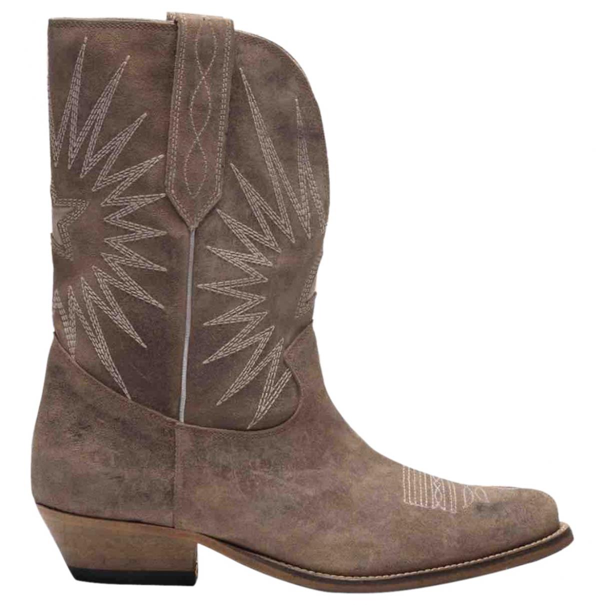 Golden Goose - Boots   pour femme en suede - beige