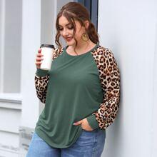 Camiseta de manga raglan con estampado de leopardo