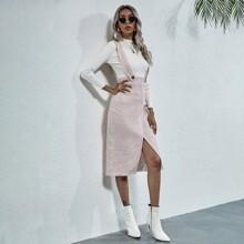 Tweed Kleid mit Schlitz am Saum und Plaid Muster