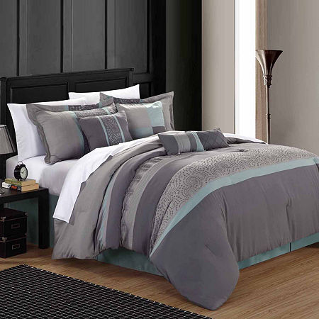 Chic Home Euphoria 12-pc. Stripes Complete Bedding Set with Sheets, One Size , Blue