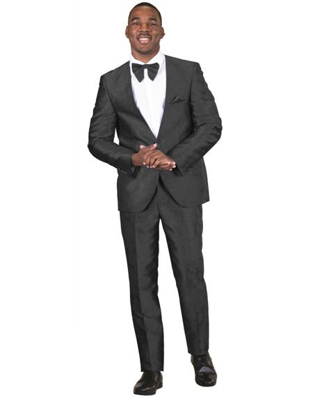 Mens Single Breasted Black Suit One Button
