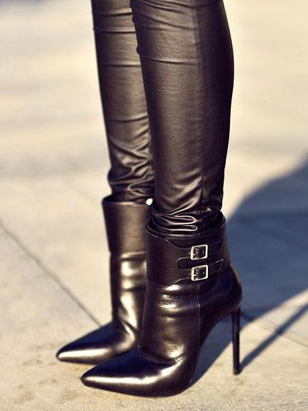 Milanoo Botines mujer negro de tacon de stiletto de puntera puntiaguada con hebilla 11cm de PU Primavera Invierno Color liso Cremallera 2020