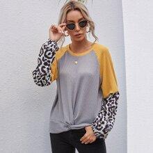 Twist Front Leopard Color Block Waffle Knit Tee