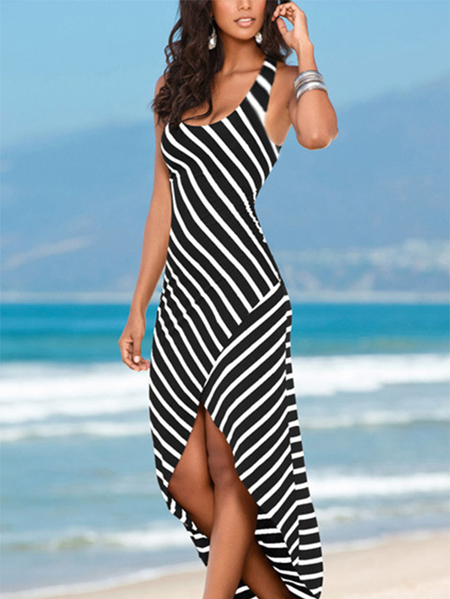 Yoins Black Striped Scoop Neck Asymmetrical Maxi Dress