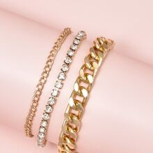 3pcs Rhinestone Decor Bracelet