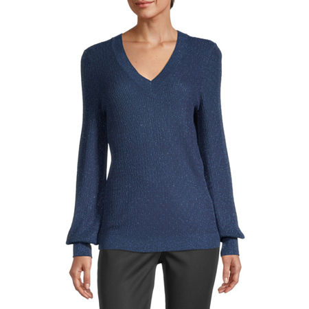 Liz Claiborne Womens V Neck Long Sleeve Pullover Sweater, Small , Blue