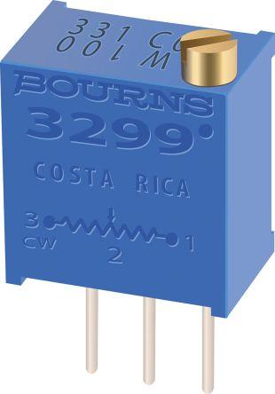 Bourns 100kΩ, Through Hole Trimmer Potentiometer 0.5W Top Adjust , 3299 (50)