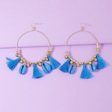 Tassel Shell Round Drop Earrings