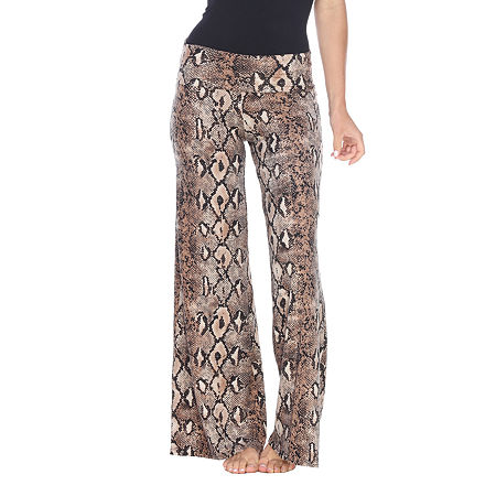 White Mark Womens Mid Rise Wide Leg Palazzo Pant, Large , Brown