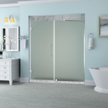 SDR965F-SS-7438-10 Belmore 73.25 To 74.25 X 72 Frameless Hinged Shower Door With Frosted Glass In Stainless