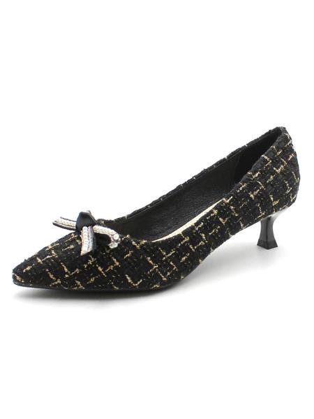 Milanoo Women Pumps Mid-Low Heels Pointed Toe Kitten Heel Bows Plaid Pattern Black Pumps