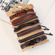 6pcs Men Infinity Decor Braided Bracelet