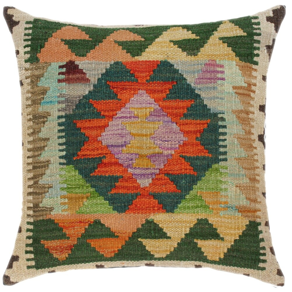 Tribal Marlo Hand-Woven Turkish Kilim Throw Pillow 18 in. x 18 in. (Accent - 18 in. x 18 in. - Polyester - Rust - Single)