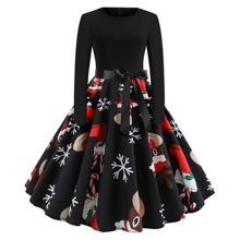Kleid in Ubergrosse mit Weihnachten Muster und Guertel