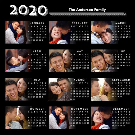 Calendar 12x12 Wood Panel, Home Décor -Graphic Year