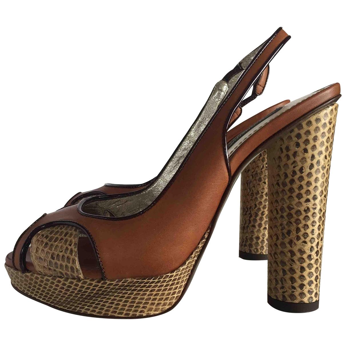 Dolce & Gabbana - Escarpins   pour femme en cuir - camel