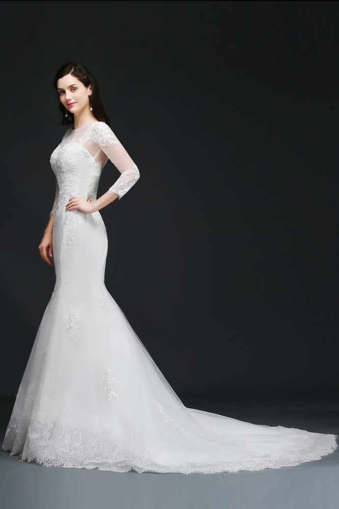 ANA   Mermaid Jewel White Wedding Dress With Lace