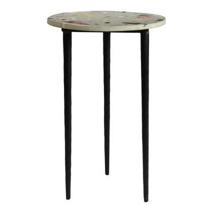 Menta Terrazzo Collection QJ-1014-37 End Table with Iron Legs in Multicolor