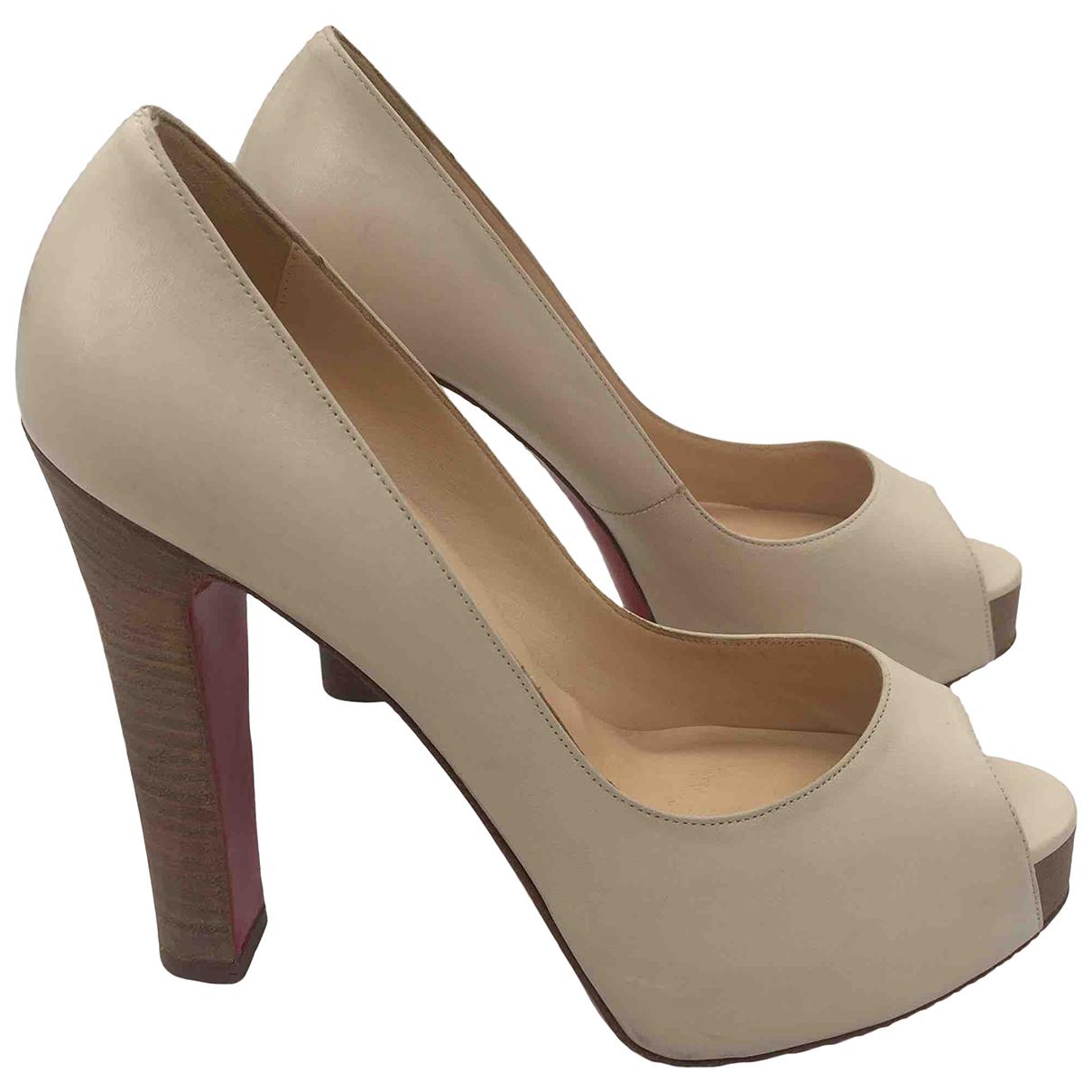 Christian Louboutin \N Beige Leather Heels for Women 39.5 EU