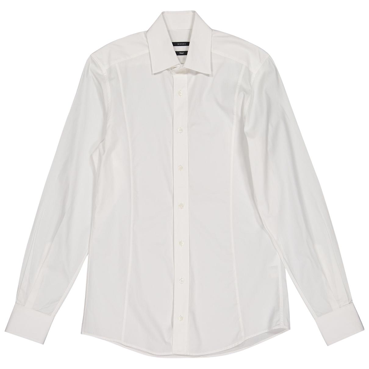 Gucci \N White Cotton Shirts for Men 38 EU (tour de cou / collar)