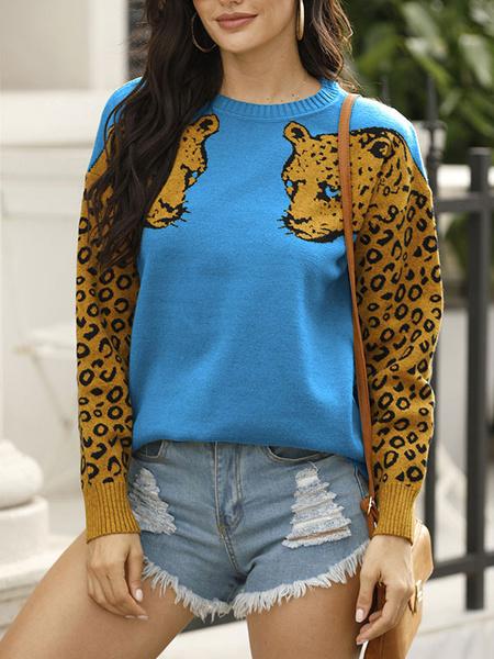 Milanoo Pullovers For Women Hunter Green Animal Print Jewel Neck Long Sleeves Acrylic Sweaters