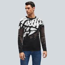 Pullover mit Batik und rundem Kragen