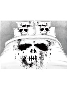 A Skull In Black And White Ink 3D Printed 4-Piece Cotton Bedding Sets/Duvet Covers