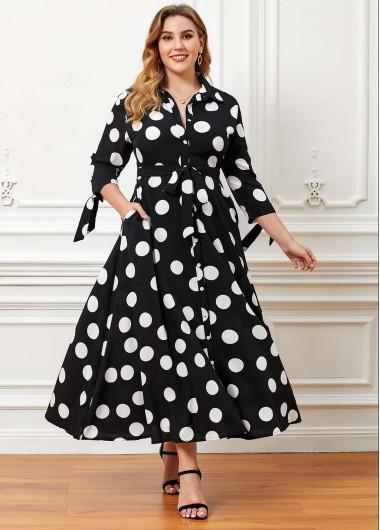 Polka Dot Pocket Plus Size Maxi Dress - 4XL
