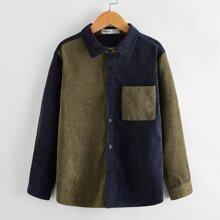 Boys Color Block Button Front Corduroy Shirt