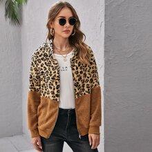 Chaqueta teddy con cremallera de leopardo
