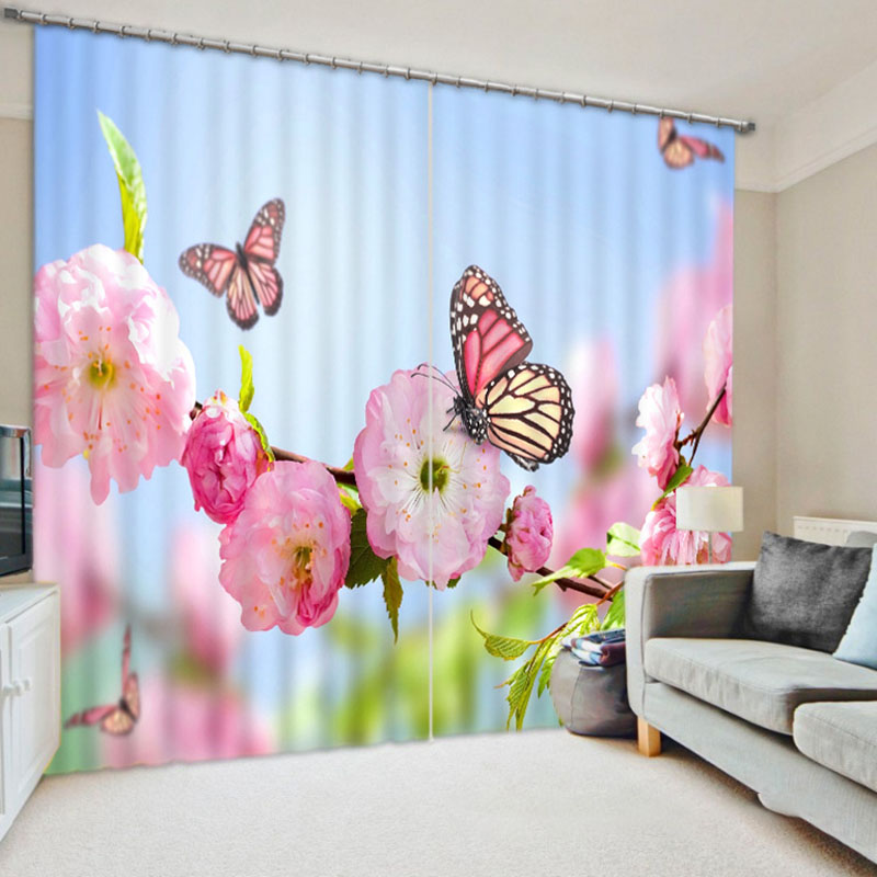 3D Spring Floral Blackout Curtains 260g/m² Polyester 70% Shading Rate and UV Rays Environmentally Friendly Printing and Dyeing No use of Chemical Auxi