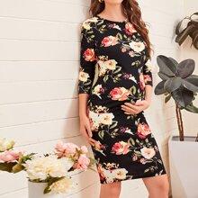 Maternity Figurbetontes Kleid mit Blumen Muster