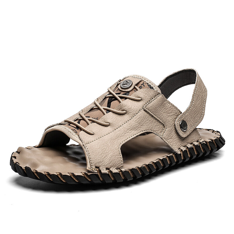 Men Open Toe Hand Stitching Outdoor Hole Leather Sandals